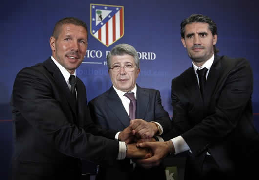 Simeone con Cerezo y Caminero